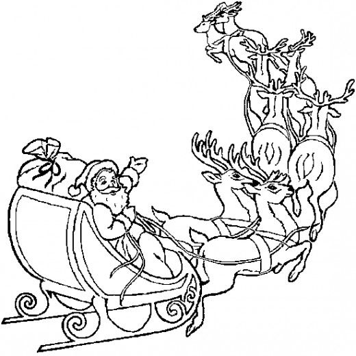 online christmas coloring book printables - Santa Reindeer Coloring Pages