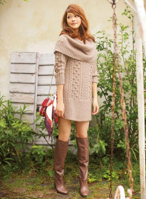 ニットワンピとブーツの相性が可愛すぎる☆ 秋冬ファッションの参考にしたい