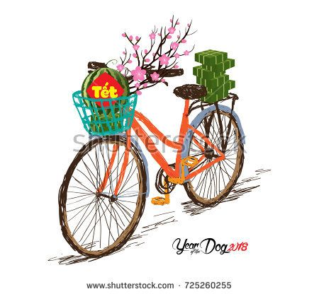 Cooked Square Glutinous Rice Cake And Blossom Bicycle Vietnamese New Year Translation Tet Lunar Chinese New Year Card New Year Card Design New Year Art