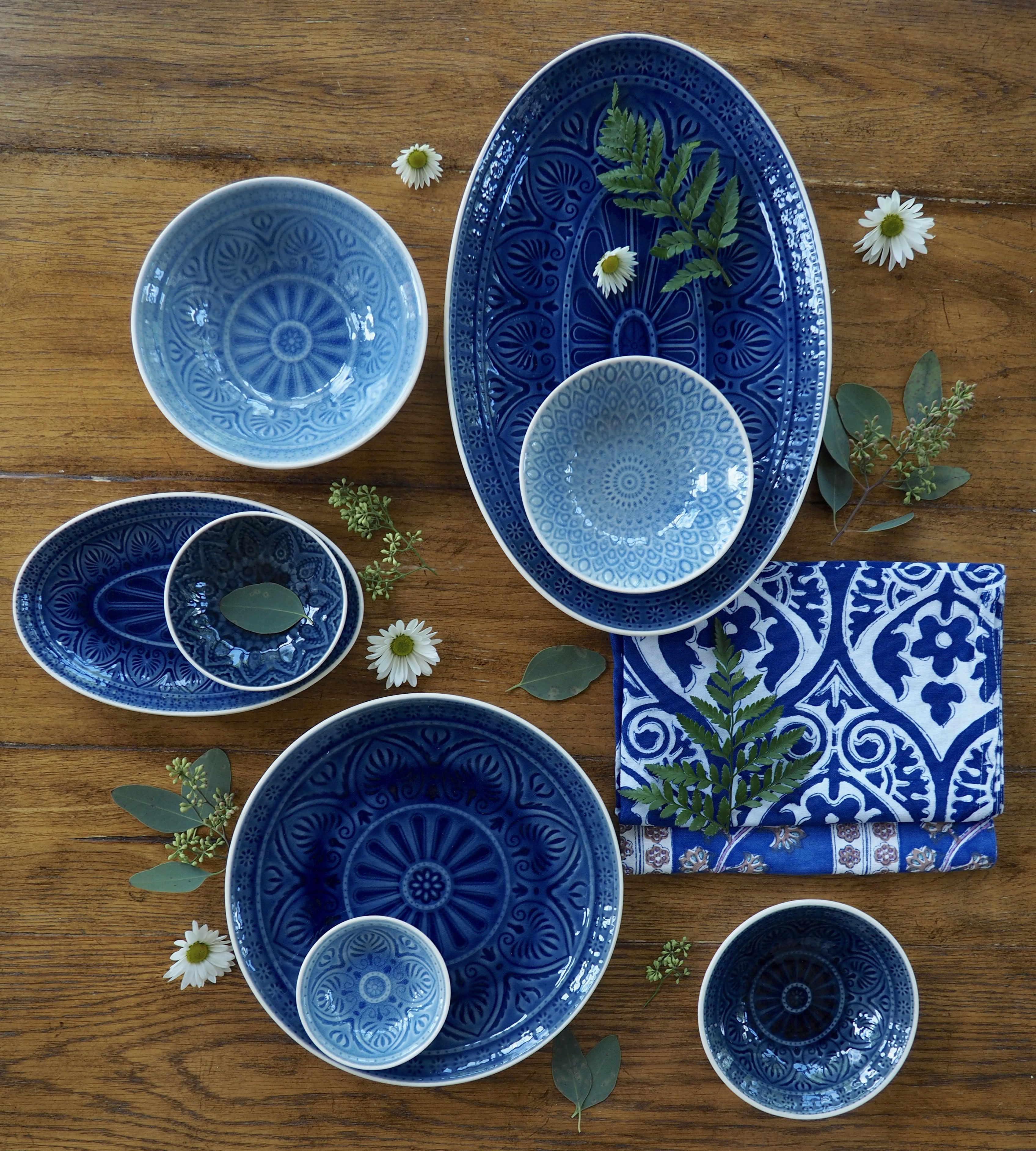 Sky blue glazed stoneware bowls designed by