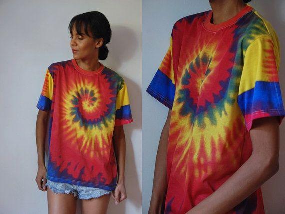 e43c0719e6b22e Vtg Tie Dye Red Yellow Blue Cotton SS Shirt by LuluTresors on Etsy, $22.99