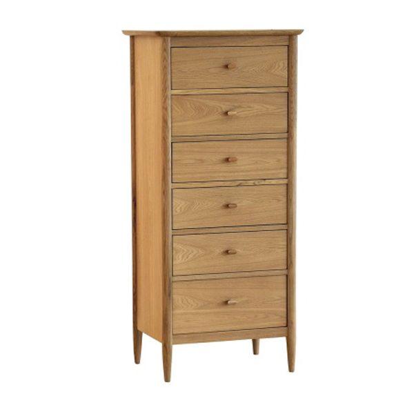 Ercol Teramo 6 Drawer Tall Chest, Oak | Bedframes | Bedroom