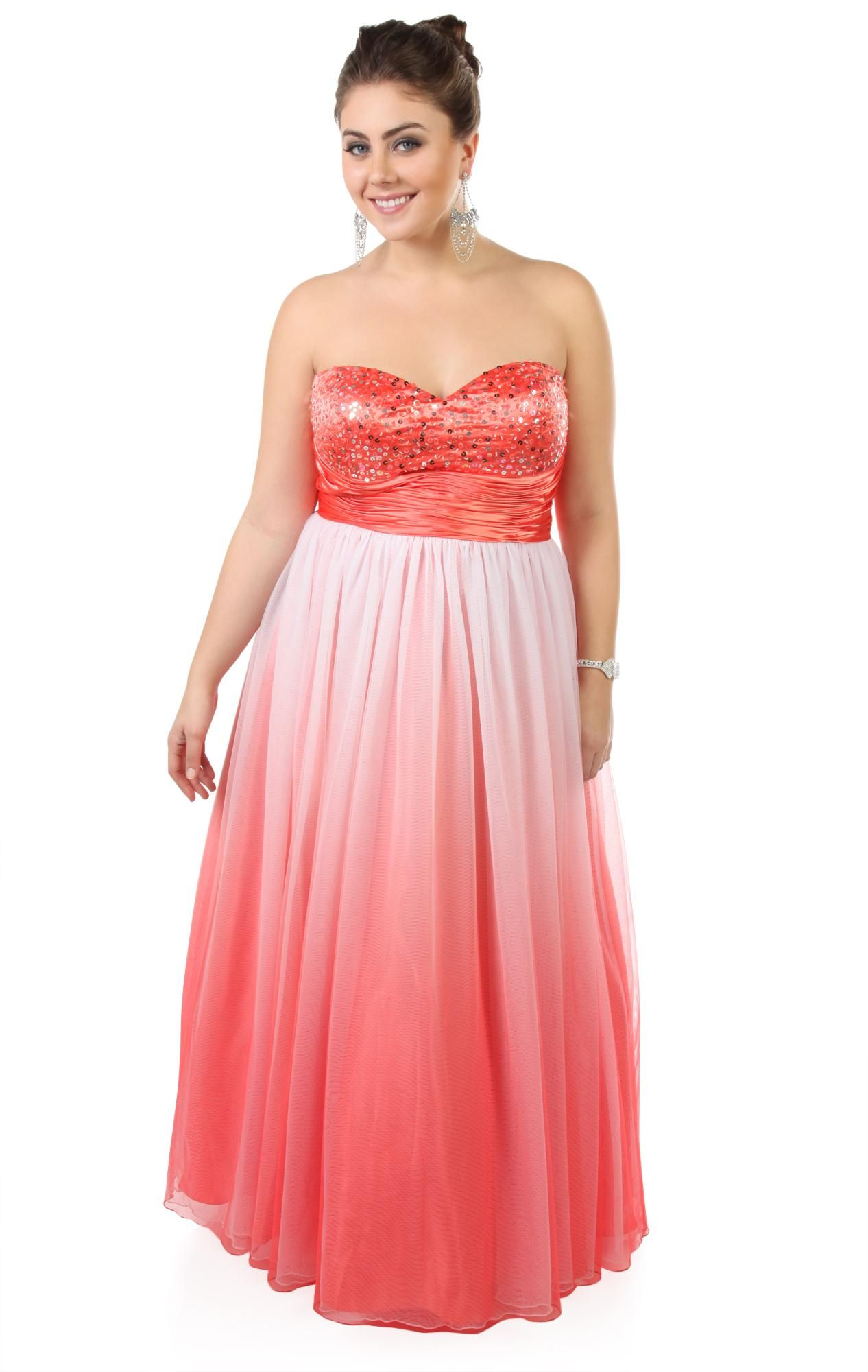 be0c8f8c07c Deb Shops plus size  ombre sequin strapless long  prom  dress with ball gown  skirt