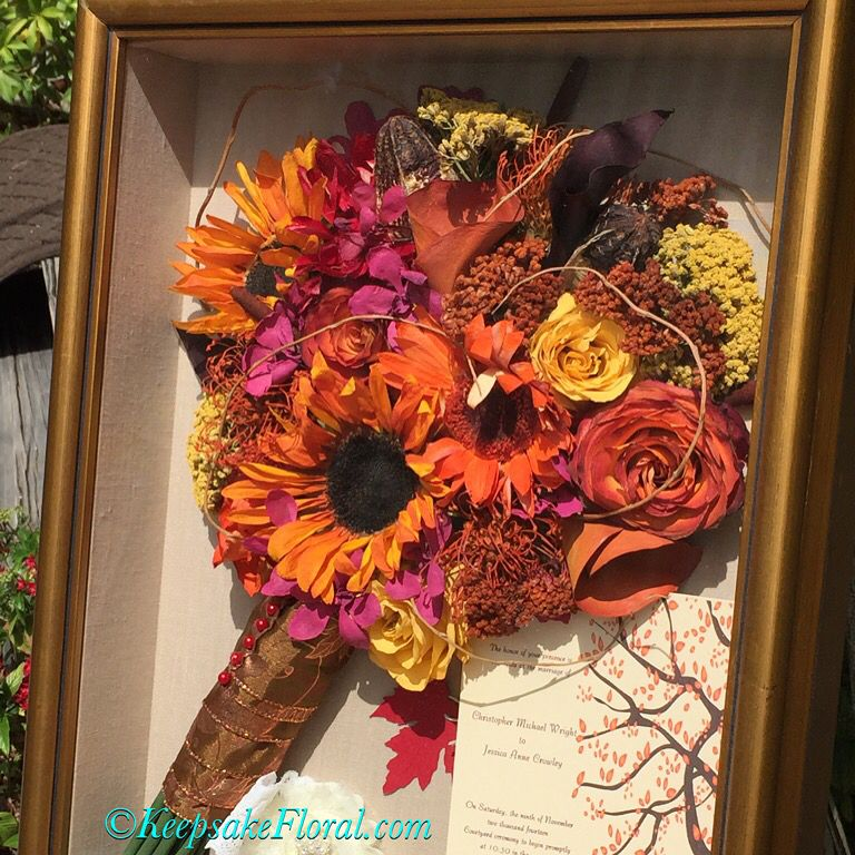 Fantastic fall inspired sunflower bouquet preserved in a