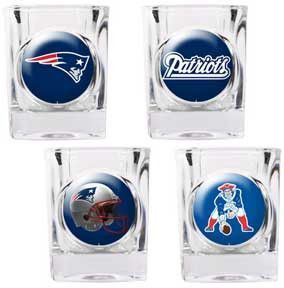 New england patriots 4 piece nfl collectors shot glass set this new england patriots square shot glass set will look great in any new england fan cave each of the 4 glasses is decorated with a different patriots voltagebd Gallery