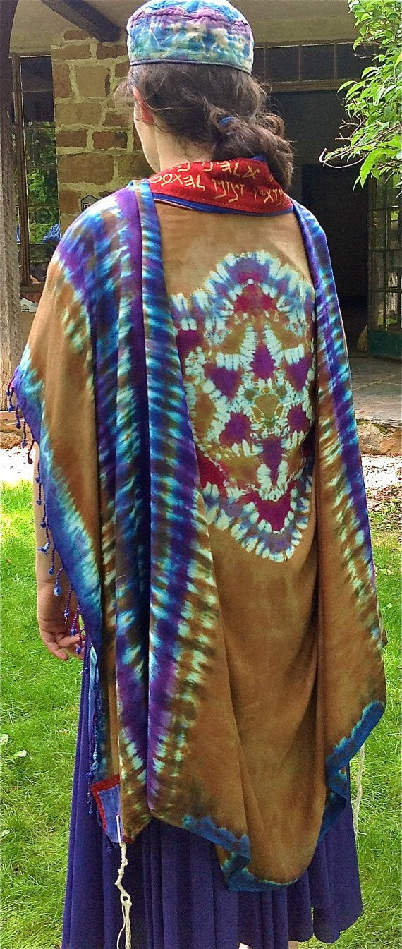 Custom Hand Dyed Ancient Colors Tallit Deposit Rayon And Silk