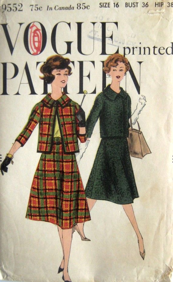 60s Short Jacket, Flared Skirt Vintage Vogue 9552 Pattern, Size 16 ...