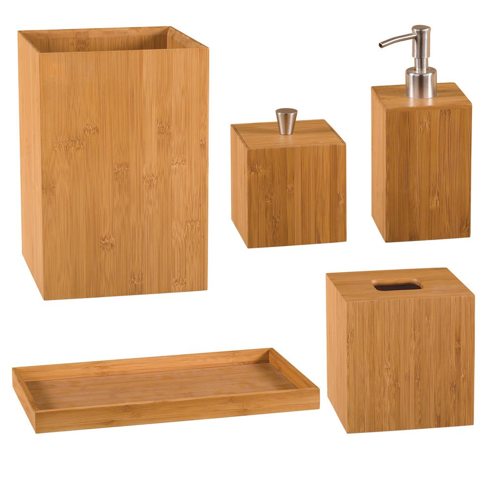 seville classics 5-piece bamboo bath and vanity set | overstock