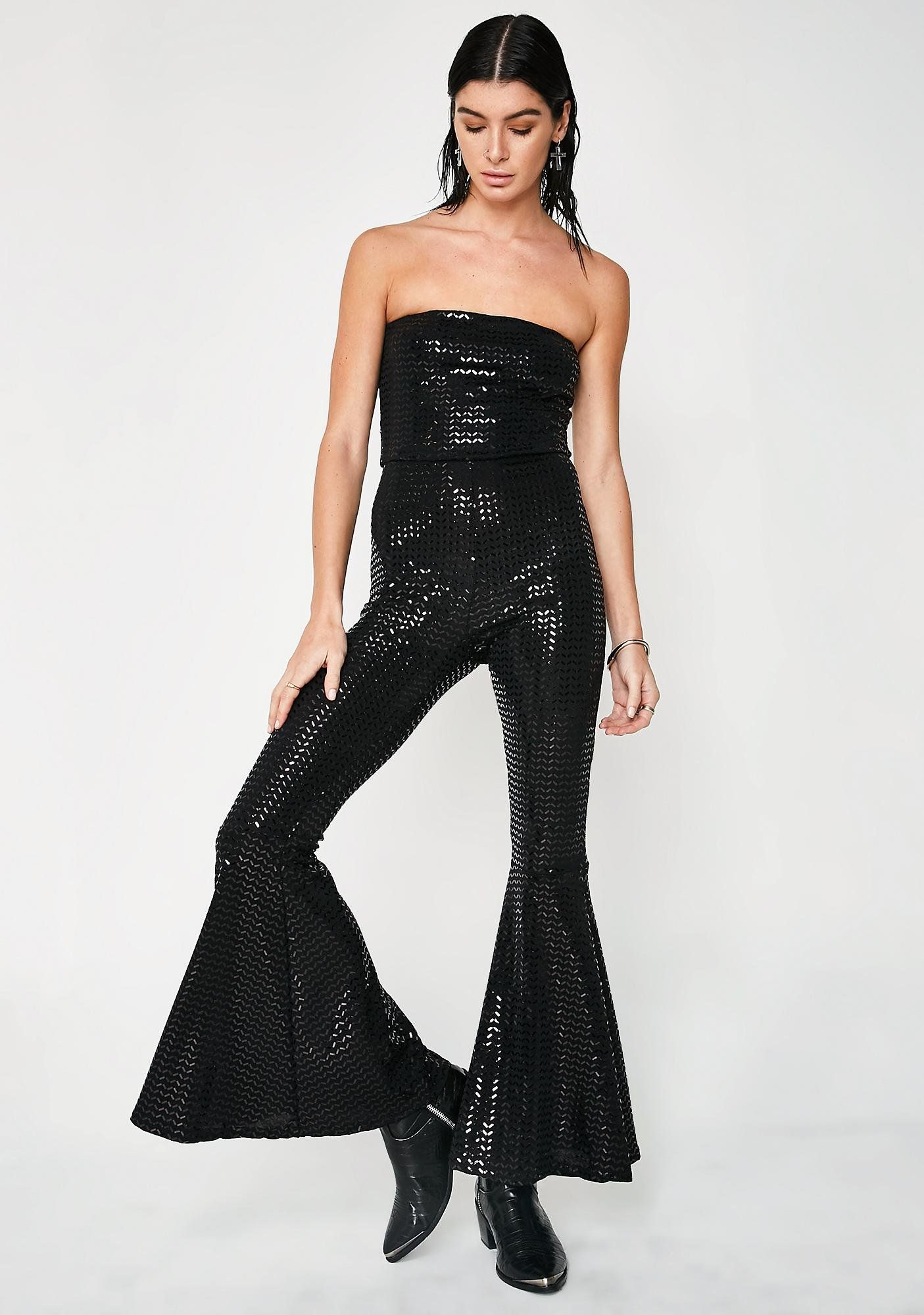 193b7d933d Boogie Fever Bell Bottom Jumpsuit got ya groovin  all night long. This  sparkly black sequin jumpsuit has a strapless neckline and flowy flared  legs.