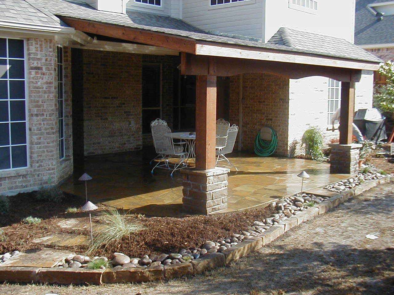 Covered Attached Patio Plans. Stained concrete. - Covered Attached Patio Plans. Stained Concrete. Garden, Yard