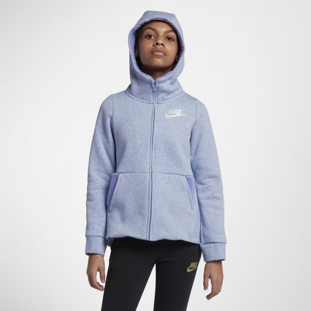 a4731f948b5604 Nike Sportswear Big Kids  (Girls ) Full-Zip Hoodie Size XS (Twilight Pulse)