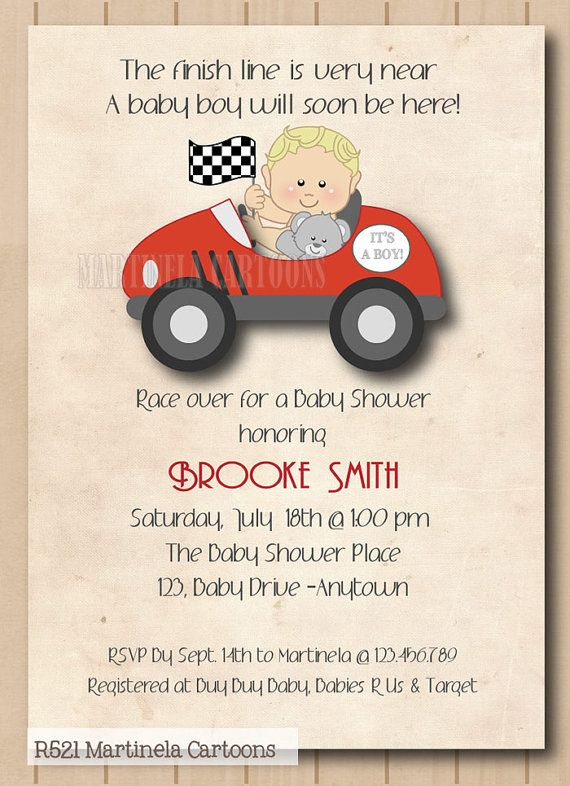Race Car Baby Shower Invitation Retro Style Digital Printable Theme Invitations For Boy