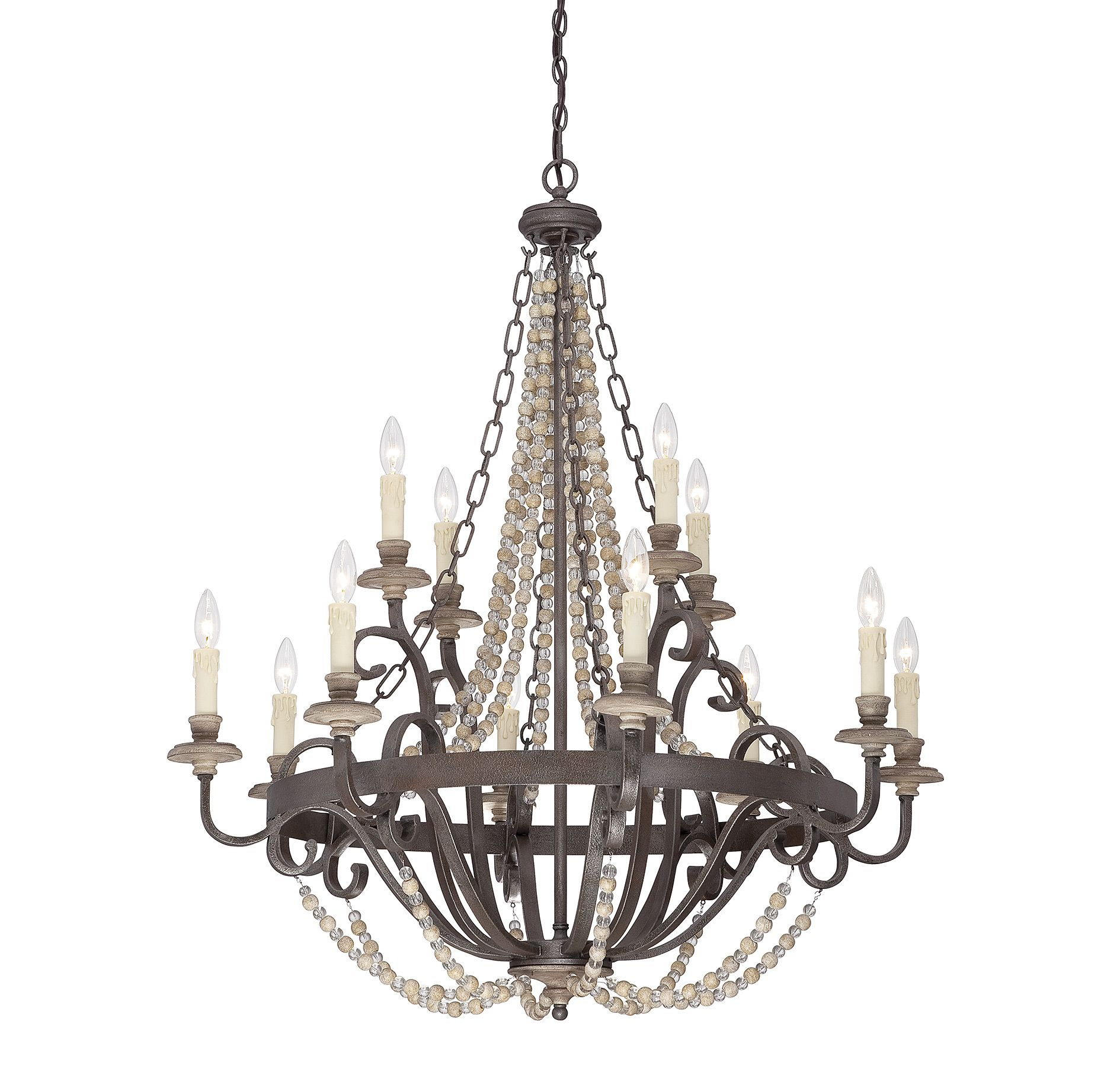 Mallory 12 light chandelier fossil stone finish wrought iron mallory 12 light chandelier fossil stone finish wrought iron rustic and arubaitofo Choice Image