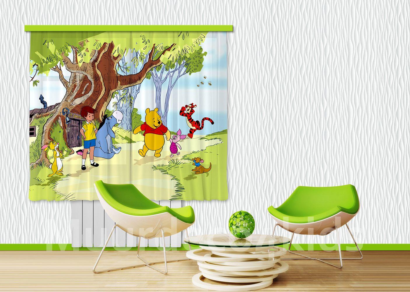 winnie de pooh fotoprint gordijnen prachtige kwaliteit geschikt voor een raam van max 175