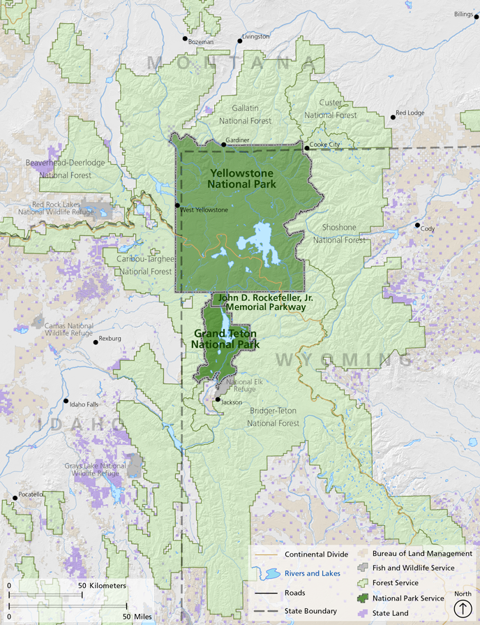 Greater Yellowstone Showing Boundaries By Owner The Continental - Yellowstone map
