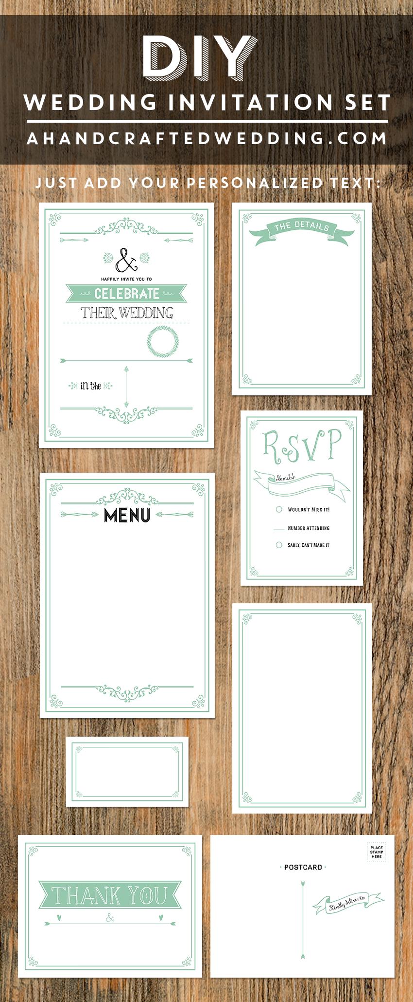 Printable Rustic Mint Wedding Invitation Set | Diy wedding ...