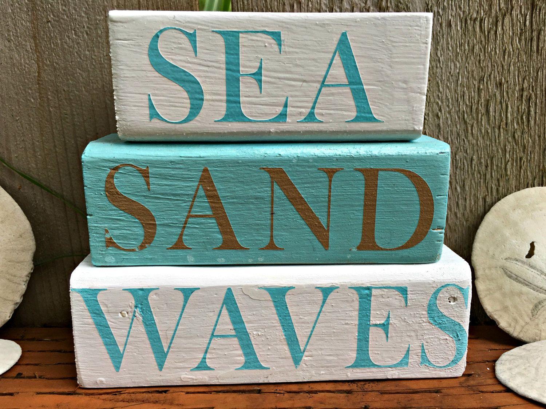 Sea Sand Waves Shelf Sitter Beach Decor Beach House Decor Nautical Decor Beach Cottage C Beach Cottage Style Beach Cottage Decor Shabby Chic Beach