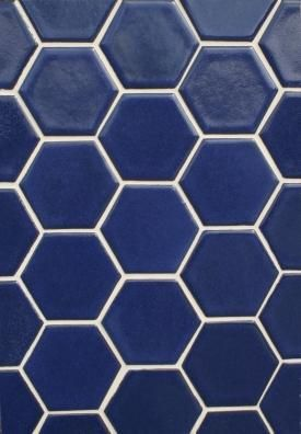 Debris Series Recycled Ceramic Tile Hexagon Sapphire Blue From Fireclay Tile