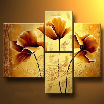 Brown Poppies-Modern Canvas Art Wall Decor-Floral Oil Painting Wall ...