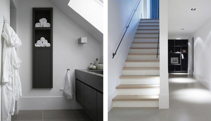 Houten Trap Ideeen : Witte trap met eiken houten treden. mooie site trouwens met mooie