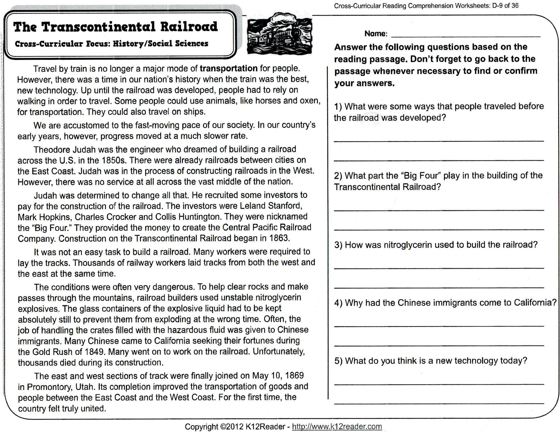 5 Reading Comprehension Worksheets Fourth Grade 4 In