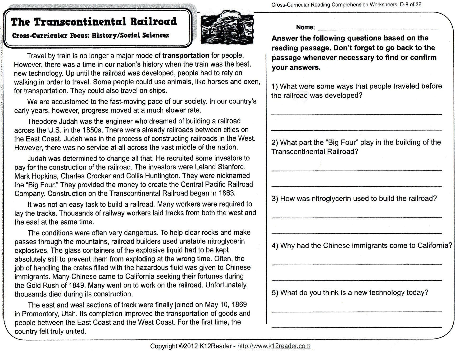 5 Reading Comprehension Worksheets Fourth Grade 4 Short