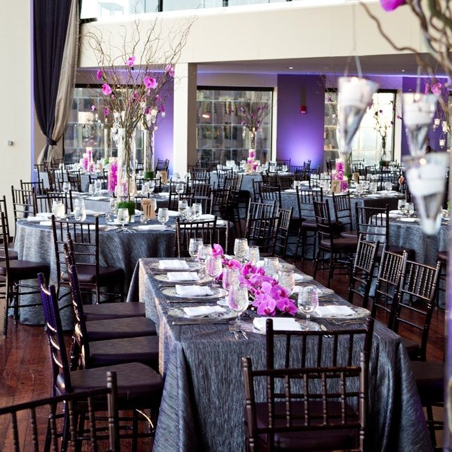 Charcoal And Purple Reception Decor Purple Wedding Reception Ideas
