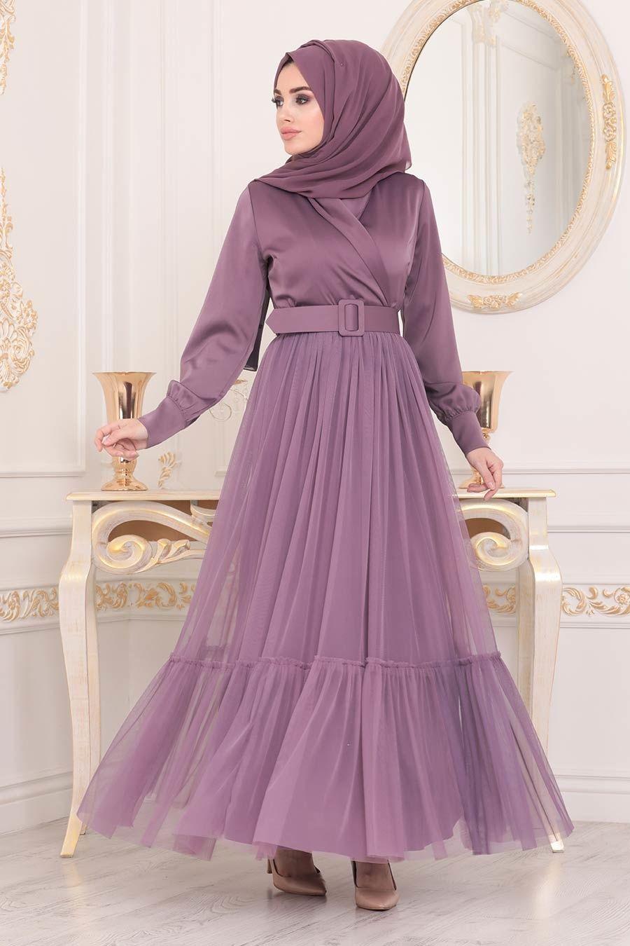 Tesetturlu Abiye Elbise Kemerli Lila Tesettur Abiye Elbise 22171lila Tesetturisland Com 2020 Elbise Elbiseler Moda Stilleri