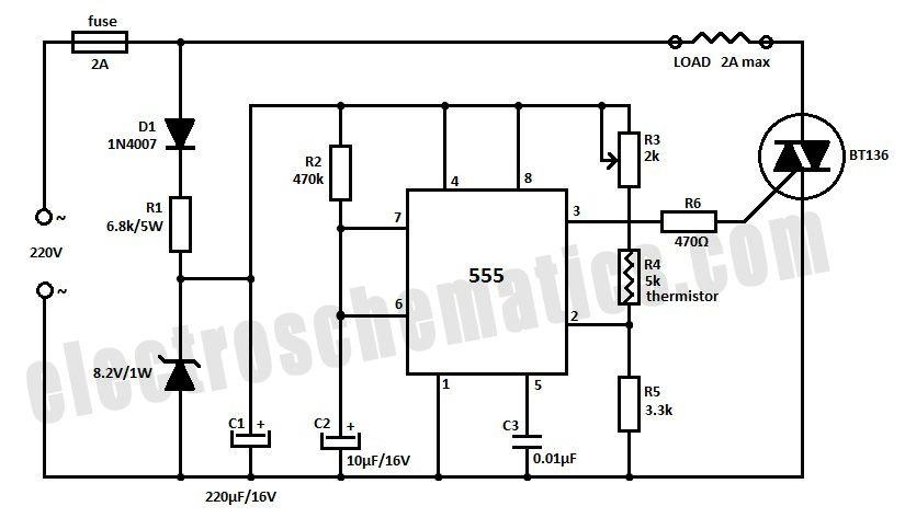 555 temperature controller circuit 555 electronic. Black Bedroom Furniture Sets. Home Design Ideas