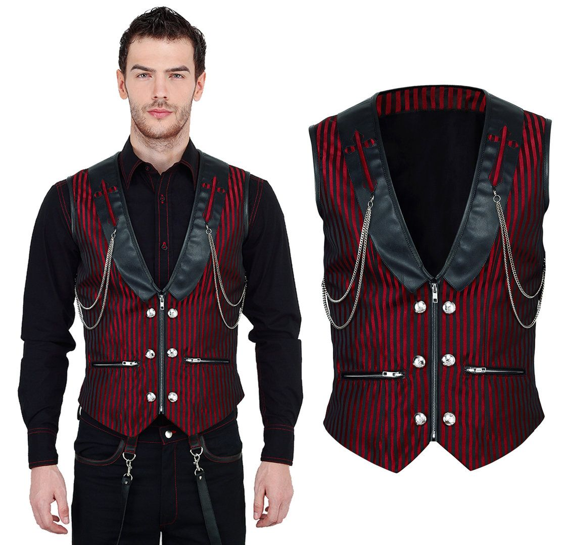 vintage goth steampunk men vest brocade black red vg16419. Black Bedroom Furniture Sets. Home Design Ideas