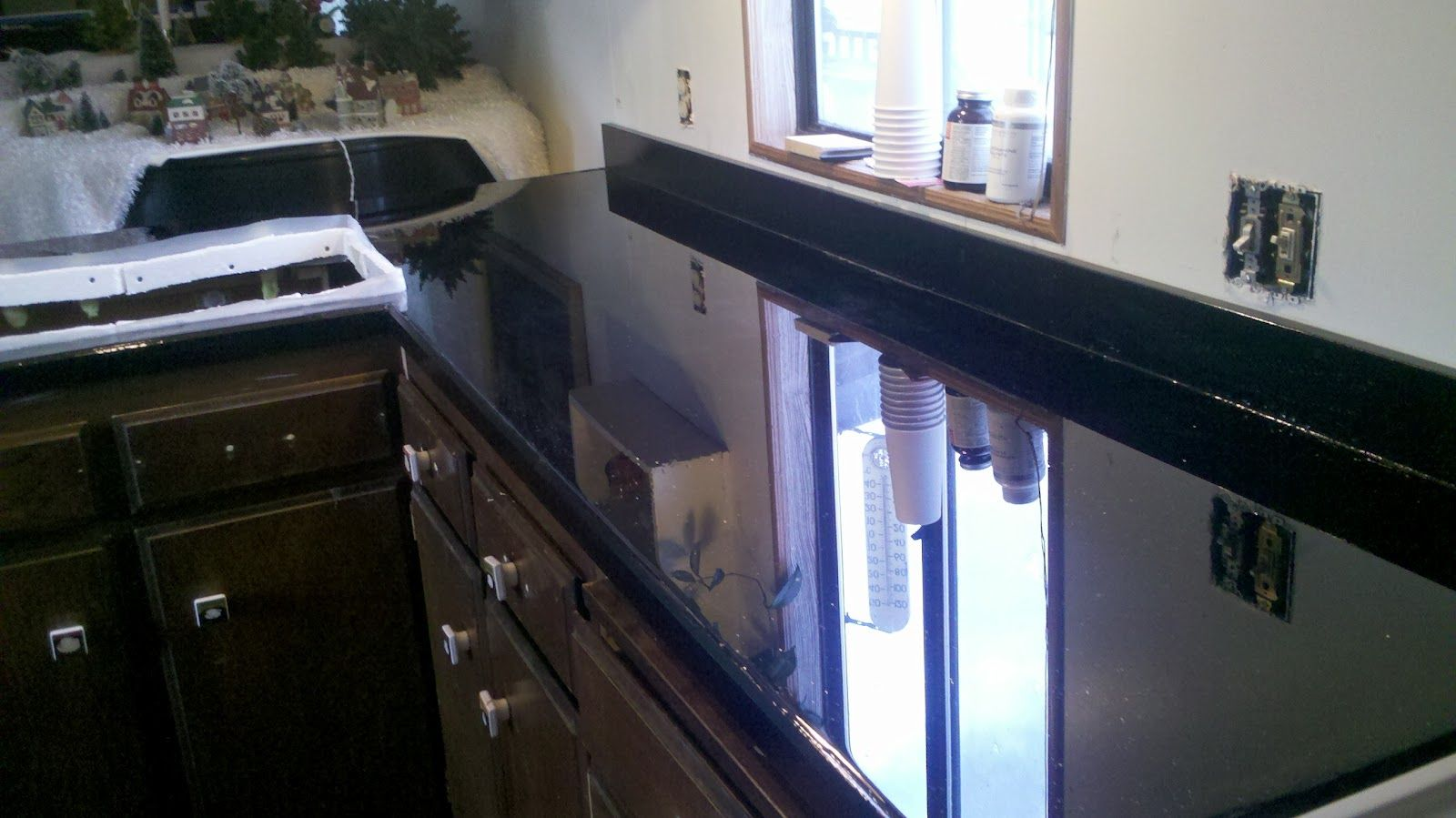 countertops madeputting down plywood with fabric on top, then