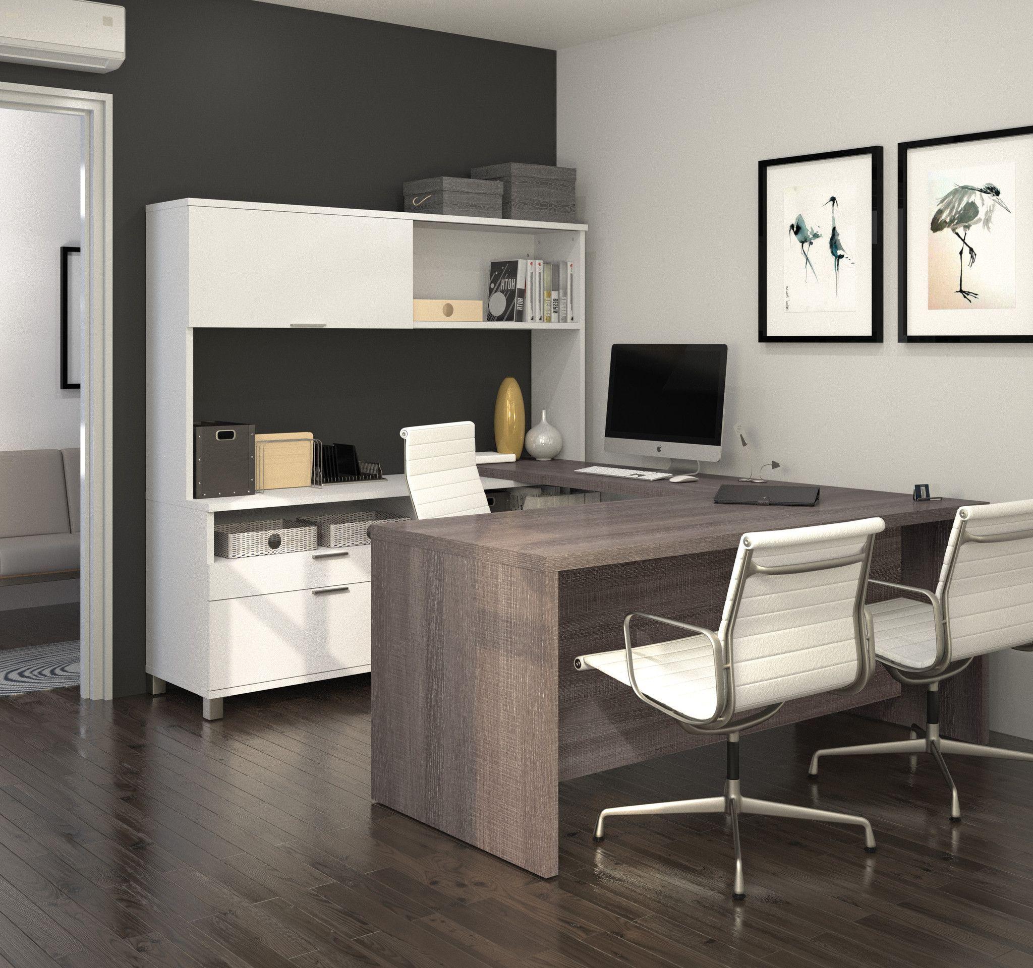 Premium Modern U Shaped Desk With Hutch In White U0026 Bark Gray