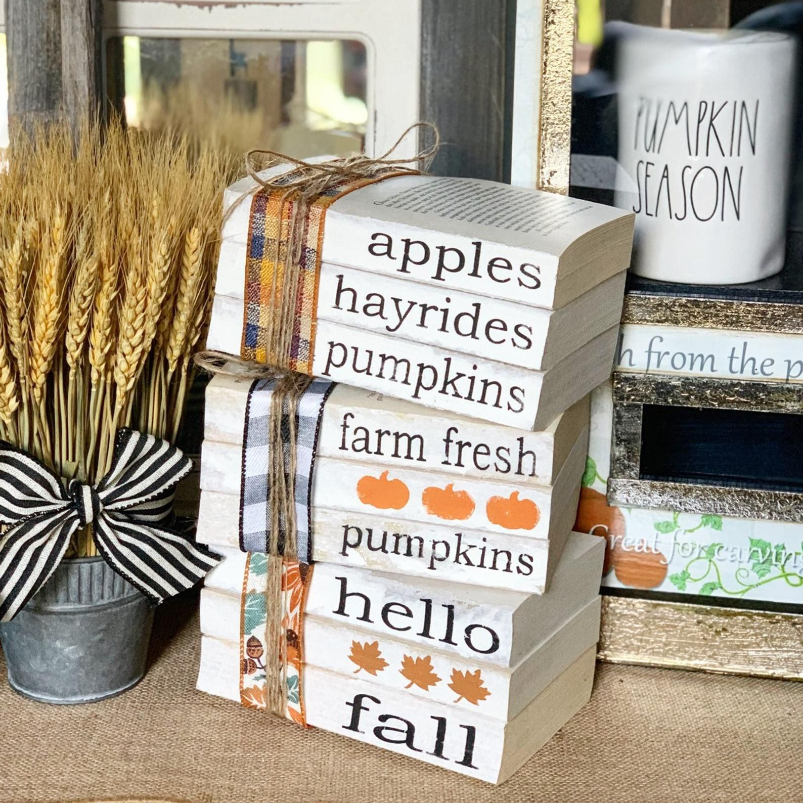 Fall Decor / Stamped Books / Fall decorations / Farmhouse decor / Tiered tray decor / Hello fall / P #falldecor