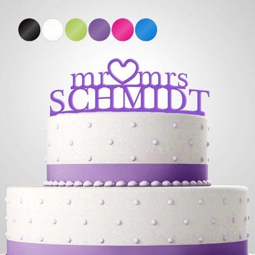 Cake Topper Tortendekoration Acryl Mr Mrs Personalisiert Mit