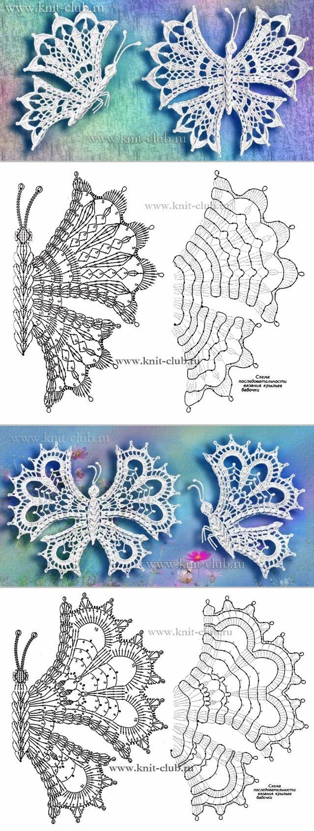 Бабочки крючком | Ganchillo, Dibujos de flores de ganchillo y Motivo ...