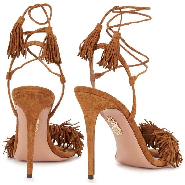 Womens High-Heel Sandals Aquazzura Wild Thing Brown Fringed Suede... (£490) ❤ liked on Polyvore featuring shoes, sandals, fringe high heel sandals, strappy high heel sandals, brown high heel sandals, high heel sandals and brown fringe sandals
