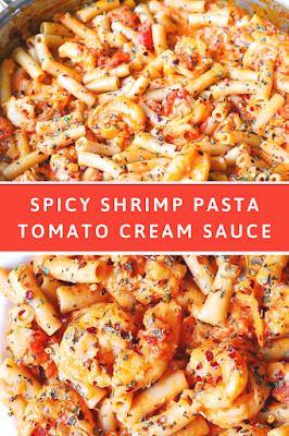 This is Spicy Shrimp Pasta in Garlic Tomato Cream Sauce #Spicy #Shrimp #Pasta #in #Garlic #Tomato #C