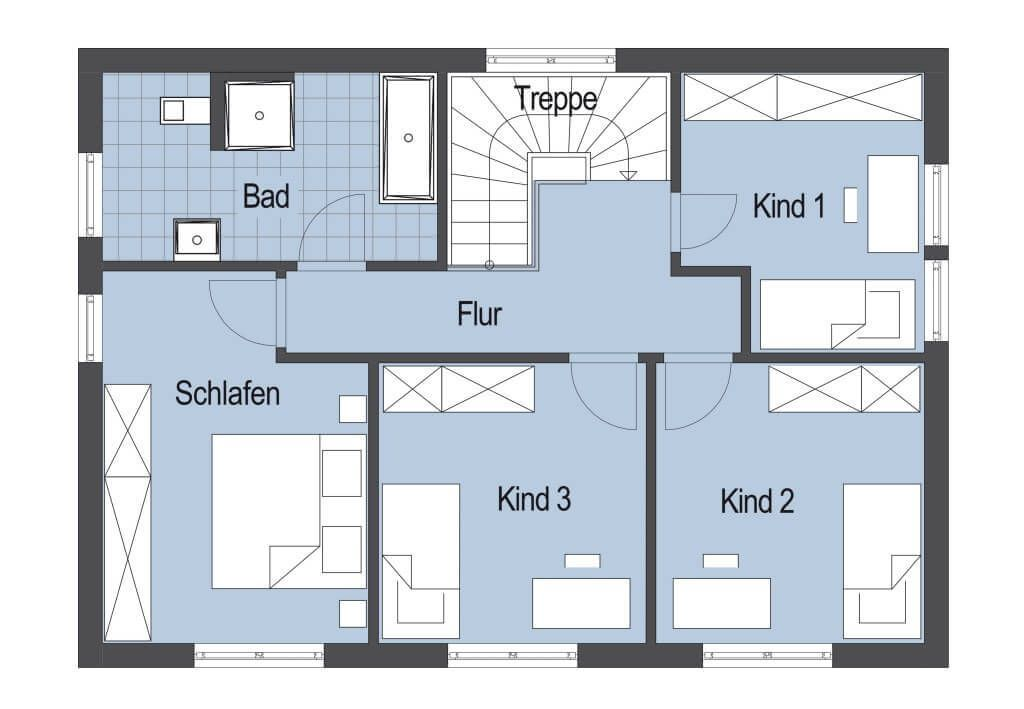 Grundriss Stadtvilla Obergeschoss mit Flachdach - Einfamilienhaus ...