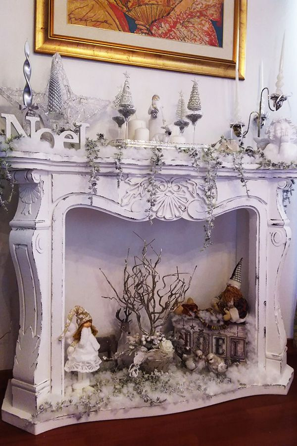 Faux fireplace camino finto shabby chic disponibile su for Camino finto fai da te per natale