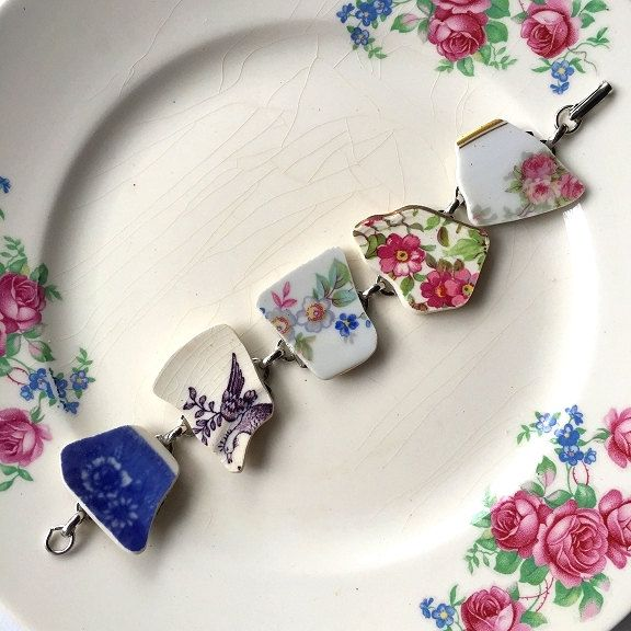 Broken china jewelry -  broken china bracelet - made from antique broken china plates - ecofriendly jewelry by dishfunctionldesigns on Etsy