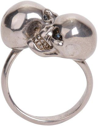 Alexander McQueenSilver/Blue Crystal Twin Skull Ring