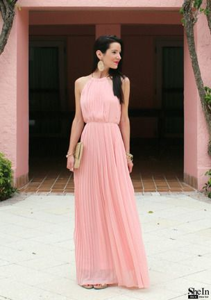 0b04b5f9df5c3e Shop Pink Sleeveless Halter Pleated Maxi Dress online. SheIn offers Pink  Sleeveless Halter Pleated Maxi Dress   more to fit your fashionable needs.