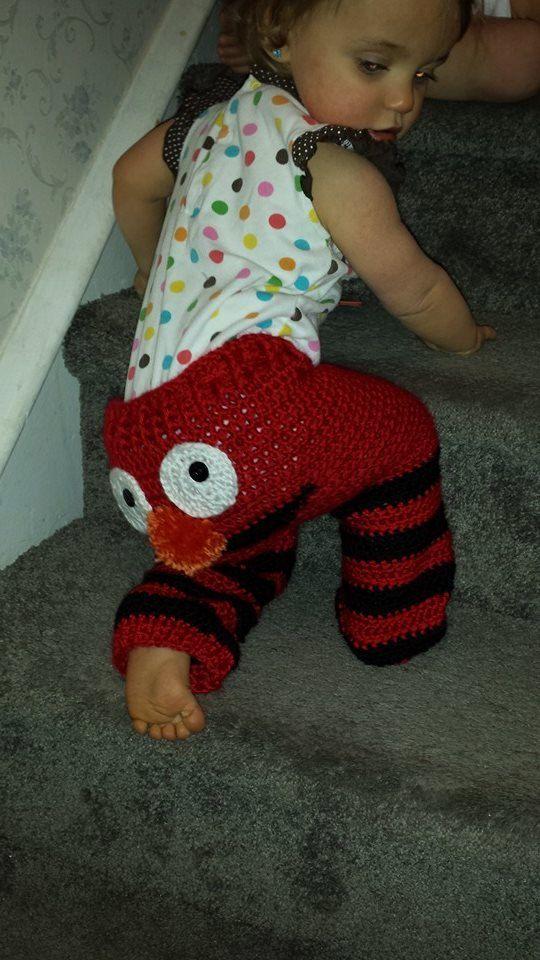 Crocheted Pants Red Monstersock Monkey Kitty Monster Pants