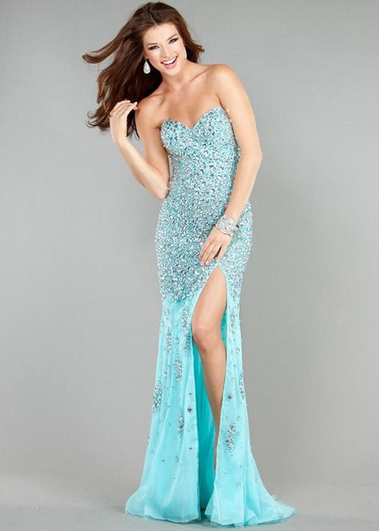 2014 Strapless Sexy Side Slit Beaded Silver Aqua Prom Dress ...