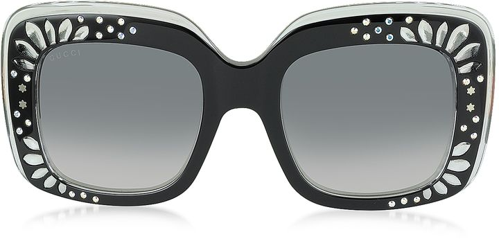 204df72ebe4 Gucci GG 3862 S YL1VK Black Acetate Oversized Square Frame Women s  Sunglasses w Rhinestone Details