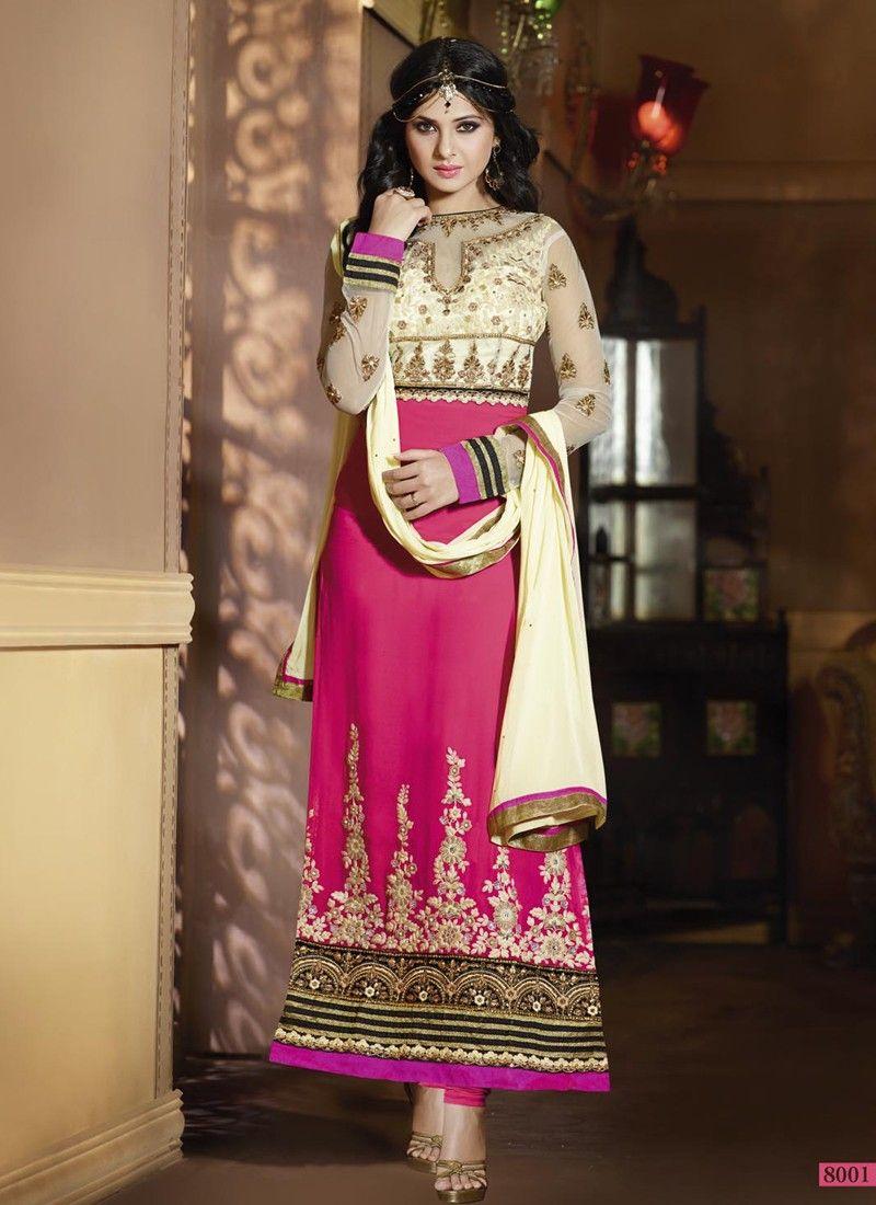 Auspicious rose pink u cream georgette straight long churidar suits