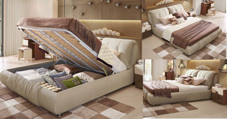 Brown Bedroom Double Bed With Storage Underneath