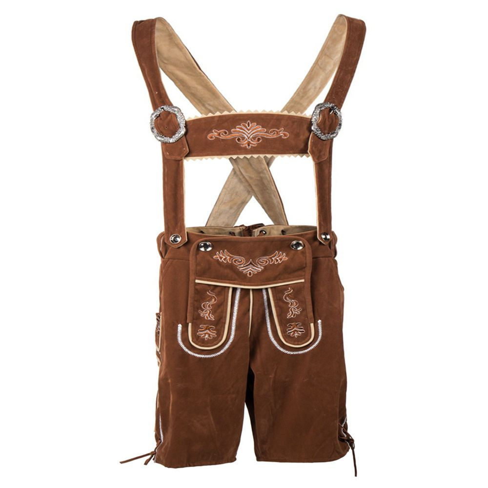 OKTOBERFEST Mens Bavarian Lederhosen Brown Oktoberfest Leather Trousers