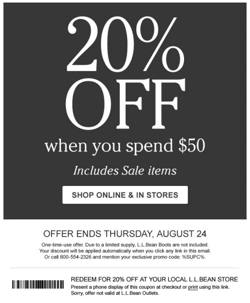 photograph regarding Shopko 20 Off Printable Coupon referred to as Purchase 20% off $50 or extra at L.L. Bean with this printable in just