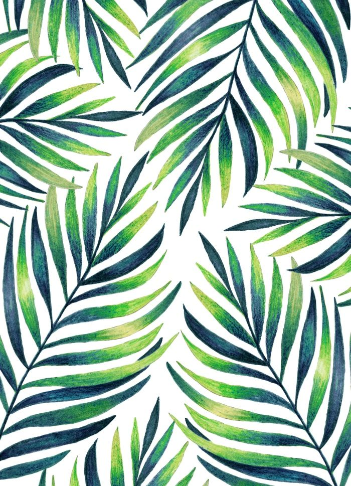 Tropical Leaves White Pattern Watercolor Leaf Art Painting